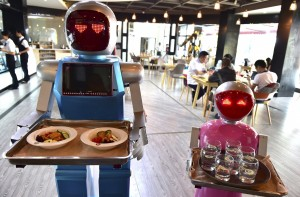 robots carry food trays
